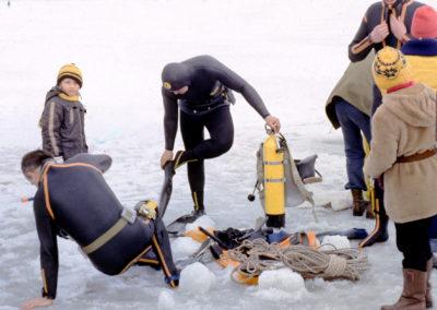 Nieporęt, nurkowanie podlodowe, 1978